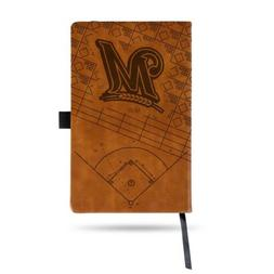 MLB Milwaukee Brewers Laser Engraved Leather Notebook - Brow