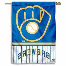 MLB Milwaukee Brewers Pinstripes Glove House Flag and Banner
