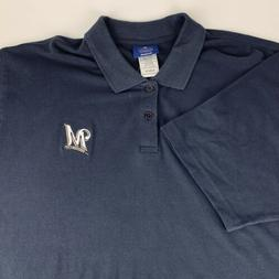 MLB Milwaukee Brewers Reebok Polo Shirt Blue Embroidered Log