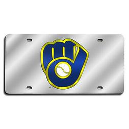 MLB Milwuakee Brewers Ball & Glove Design Laser-Cut Auto Tag