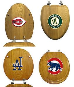 MLB Toilet Seat Oak Finish Round or Elongated w/Team Logo De