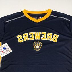 new MILWAUKEE BREWERS - MEN'S LARGE - Blue Jersey Shirt