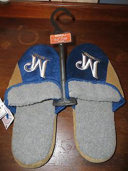 NEW Milwaukee Brewers Mens Large Slippers Size 11 - 12 Rubbe