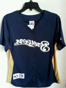 NEW MLB Milwaukee Brewers Baseball Womens Cool Base Embroide