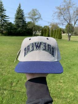 NEW Vintage 90s Milwaukee Brewers Plain Logo Snapback Hat ML
