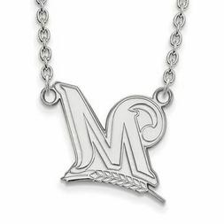 SS MLB  Milwaukee Brewers Large Logo Pendant w/Necklace