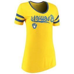 Women's New Era Gold Milwaukee Brewers Jersey V-Neck T-Shirt