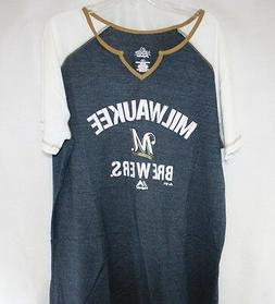Womens Majestic Milwaukee Brewers Blue White V-neck Style Ba